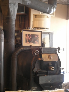 The focal point of The Kaffeeklatsch: The 1929 Jabez Burns roaster, a work of art.