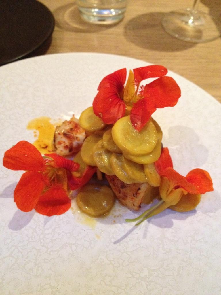 Edible flowers and monkfish, plus squash