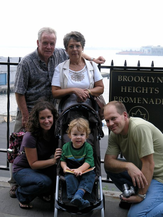 A family tours Brooklyn: my parents, James and Sandra, and my sister Julie, her son, Ian, and husband Mark