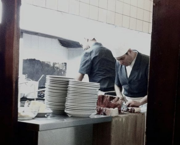 In the kitchen at Sostanza. (Look at the bottom right corner of image and you'll see a perfect piece of beef.)