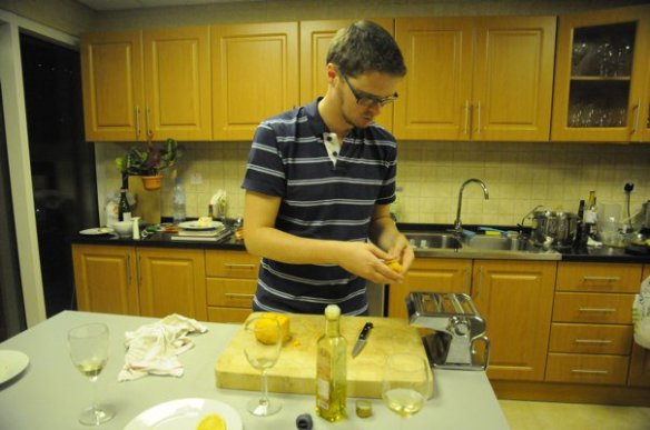 Chris prepares pasta, in the Dubai kitchen that Angela and I shared.