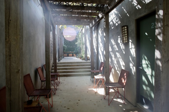 A walkway at Hotel San Jose is bathed in sunlight.  (Photo courtesy of Hotel San Jose)