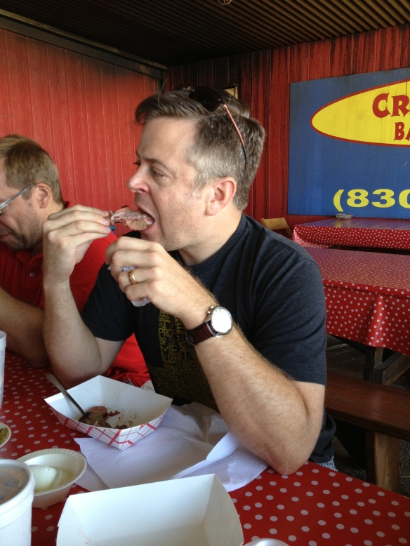 The birthday boy shows his appreciation of Cranky Frank's ribs. (Photo courtesy of Ronnie Packard)