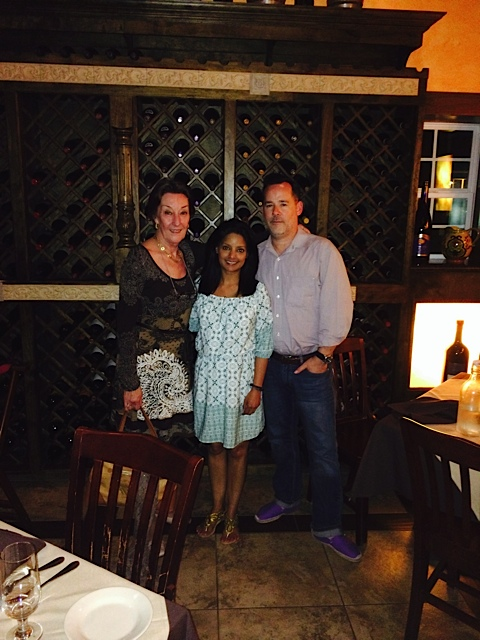 Patricia Baglioni, Angela Shah, and James Brock share an evening in Houston.