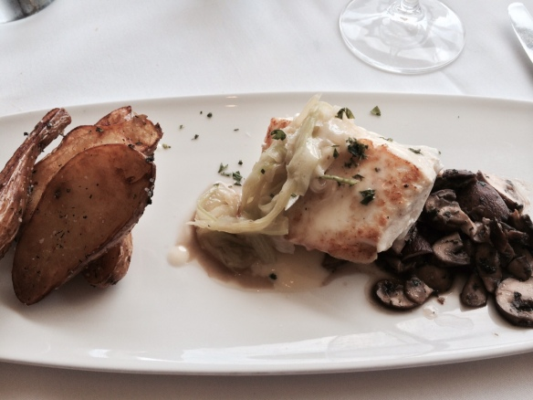 Wild Halibut from Alaska was firm, slightly briny, but overwhelmed  by the potatoes served with it.
