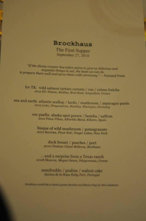 The First Supper menu